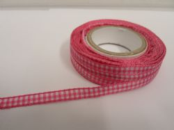 Barbie bright Pink 2 metres or full roll x 5mm Gingham Ribbon Double Sided check UK